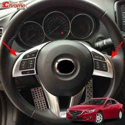 For Mazda 6 Atenza GJ 2013 2014 2015 2016 Chrome Steering Wheel Panel Cover Button Switch Trim Sticker Decoration Car Styling