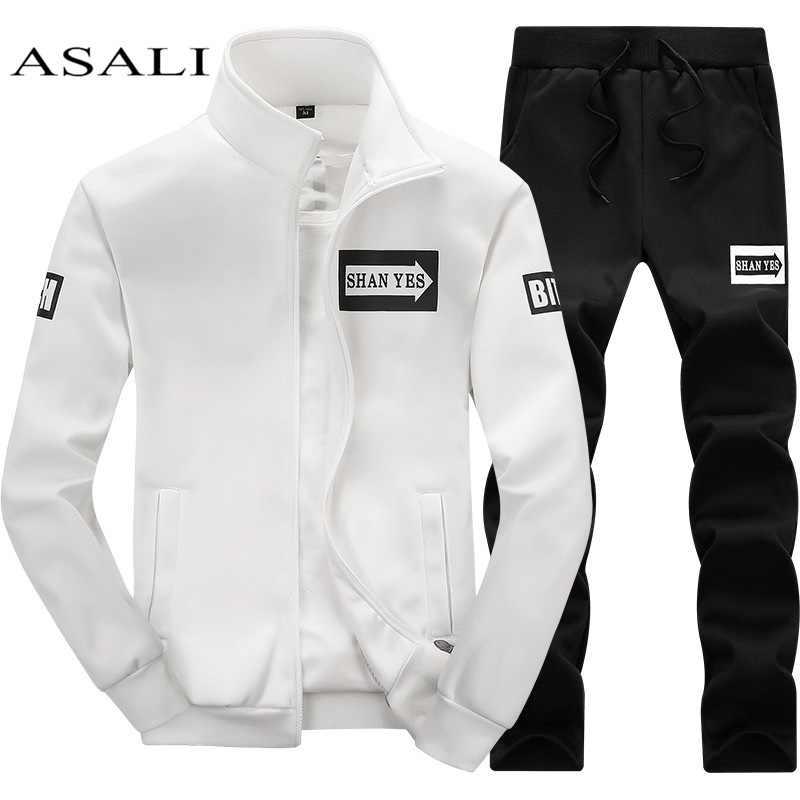 dc65556432b46 Conjunto para Unid hombre 2 piezas cremallera otoño ropa deportiva Casual  chándal Masculino 2018 sudadera chaqueta