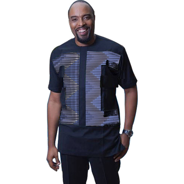 5bc57b7f60ba African Print Shirt Men Patchwork Fashion Dashiki Ankara Shirt Short Sleeve  Tops Custom Made Africa Clothing