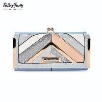 2017 Sally Young International Brand Newest Women Wallet Long Purse Geometric Patchwork Design Hasp Closure Wallet