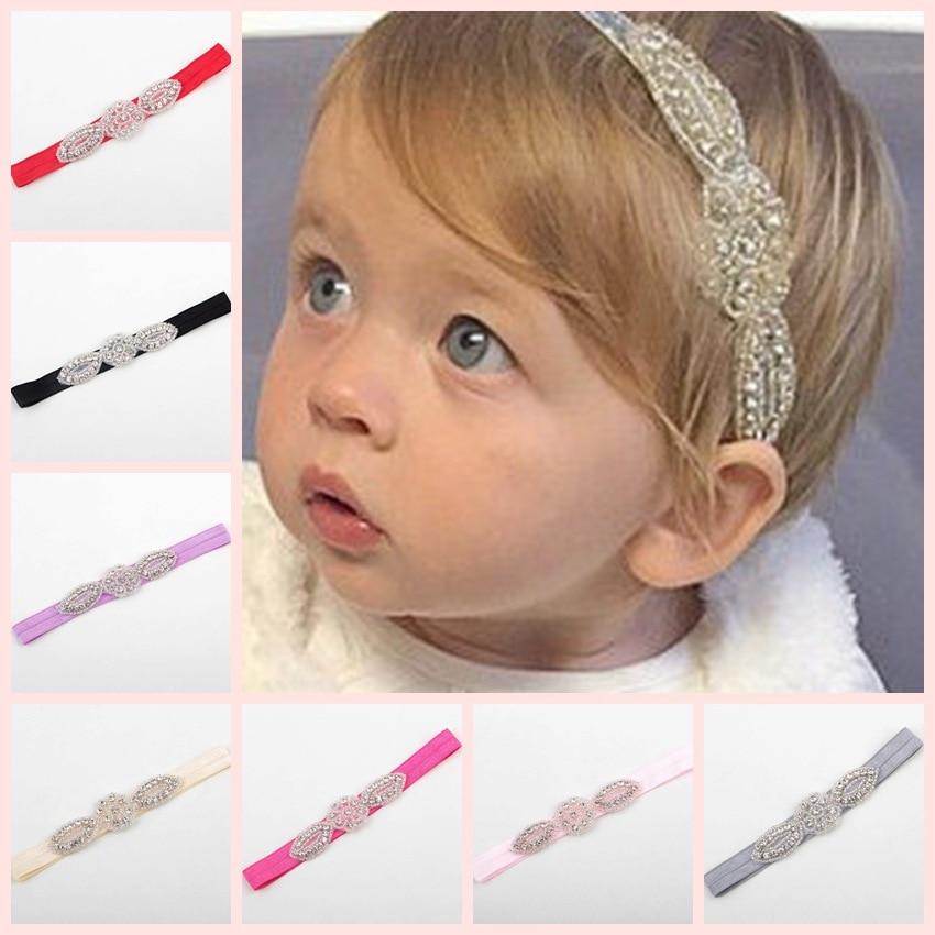 Yundfly Crystal Rhinestone Headband Elastic Baby Girls Head Accessories Children Hair Bands Party Headwear Photo Shoot