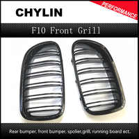 A Pair 5 Series F10 Glossy Black Dual Slat M5 Style Front Kidney Grille Grill For BMW F10 520i 523i 525i 530i 535i 2010+