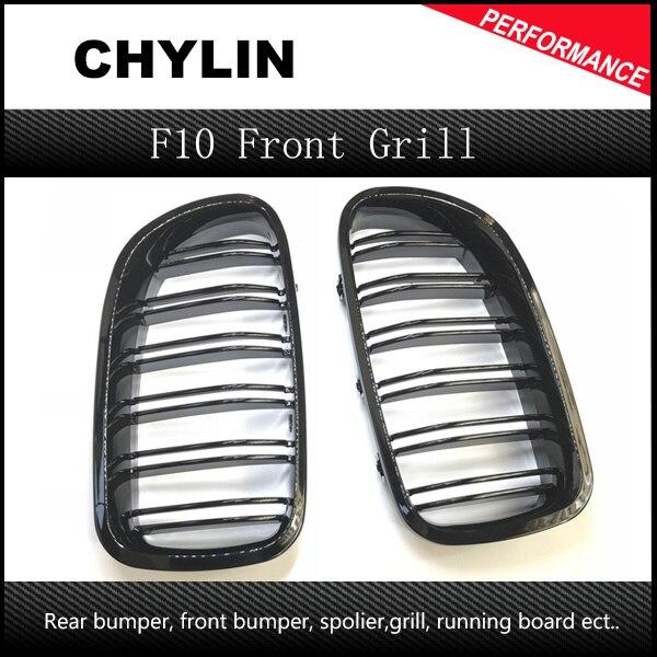 Um par de 5 séries f10 preto brilhante dupla slat m5 estilo frente rim grille grill para bmw f10 520i 523i 525i 530i 535i 2010 +
