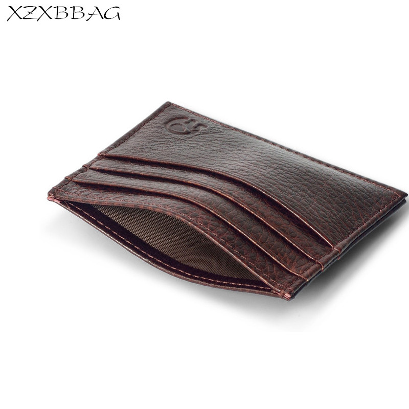 XZXBBAG 100% Genuine Leather Credit Card ID Holders Men Simple Thin ...