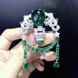 Diy sieraden sluiting twaalf sterrenbeelden weegschaal sluiting en broche dubbel gebruik 925 sterling zilver met cubic zirkoon groene kleur