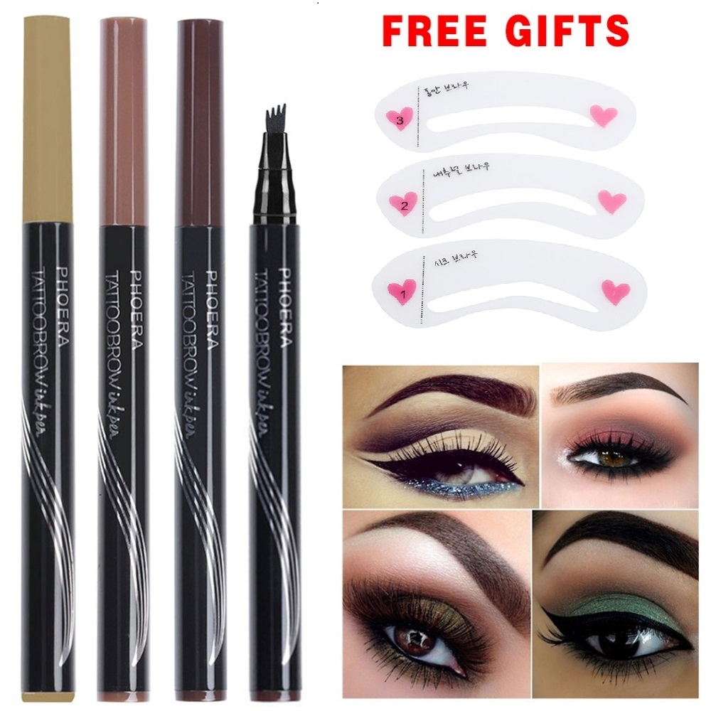 Phoera Pro Eyebrow Pencil Waterproof Fork Tip Eyebrow Tattoo Pen 4