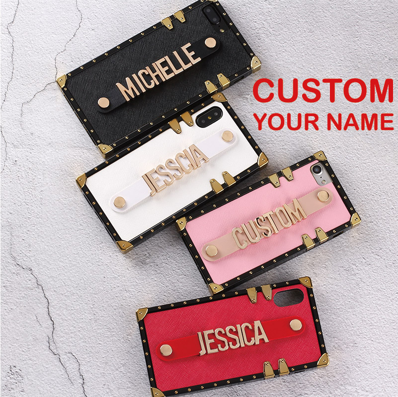 Personalized Leather Trunk Case Holding Strap Gold Metal Custom Name Text Phone Case For iPhone 6 6S XS Max XR 7 7Plus 8 8Plus XPersonalized Leather Trunk Case Holding Strap Gold Metal Custom Name Text Phone Case For iPhone 6 6S XS Max XR 7 7Plus 8 8Plus X