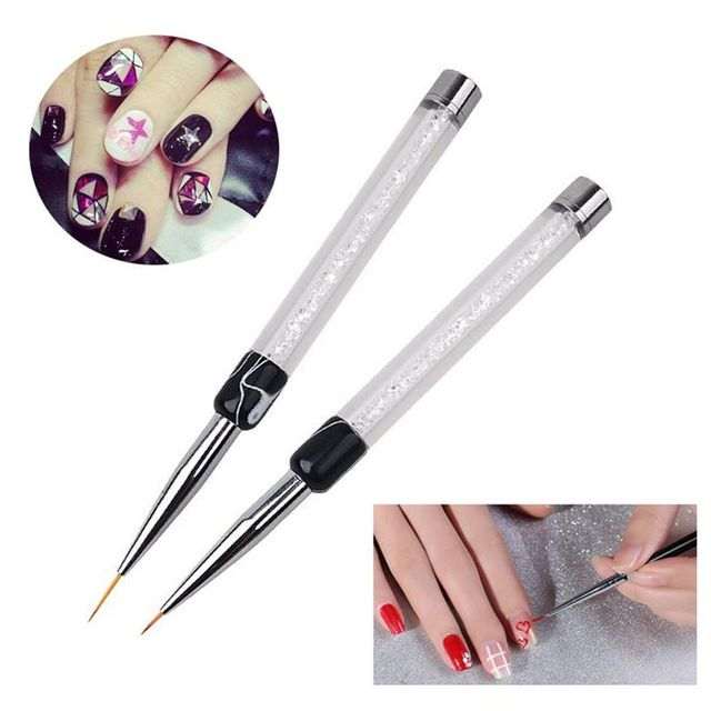1PC New Fashion Women 7/14mm Crystal Acrylic Nail Brush UV Gel Painting Line Drawing Pen Manicure Tool Beauty Decoration Nail Art Accessories