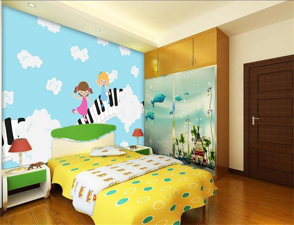 Custom 3D Photo Wallpaper Kids Room Mural Children On Piano Keyboard Painting Photo Sofa TV Background Room Non-Woven Wallpaper custom baby wallpaper snow white and the seven dwarfs bedroom for the children s room mural backdrop stereoscopic 3d