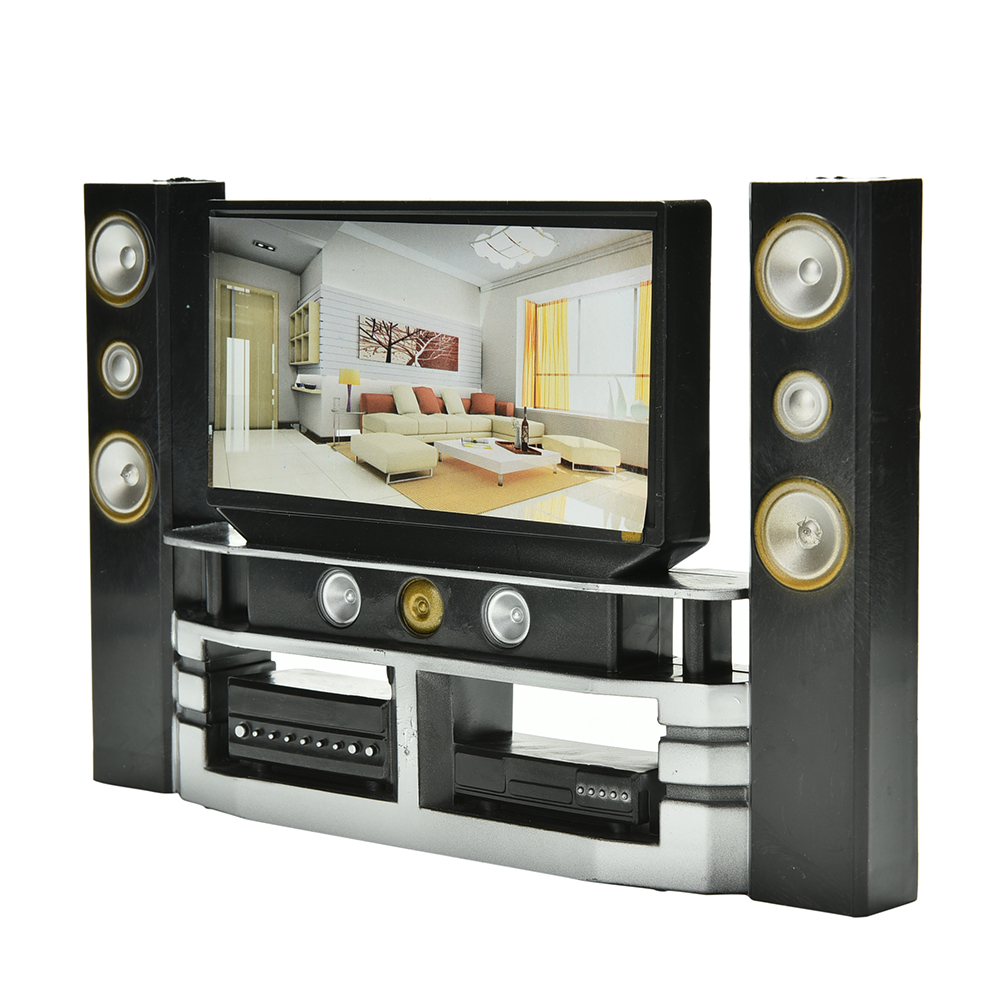 Mini Hi-Fi 1:6 TV Home Theater Cabinet Set Combo For Doll Clothes Dress Accessories House Furniture Baby Toys New Arrival