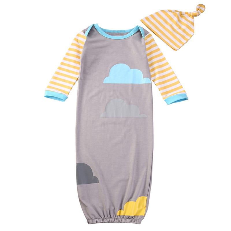 100% Kwaliteit Katoen Baby Baby Kleding Sets Jongen Lange Mouw Pasgeboren Baby Inbakeren Wrap Deken Sleepingwear Hoed 0-12 Monthes Slaap