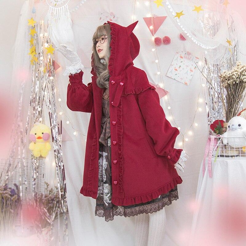 Free New Real Shipping 2019 Little Red Riding Hood Falbala Cape Coat Female Japanese Sweet Joker Lolita Hooded Fur