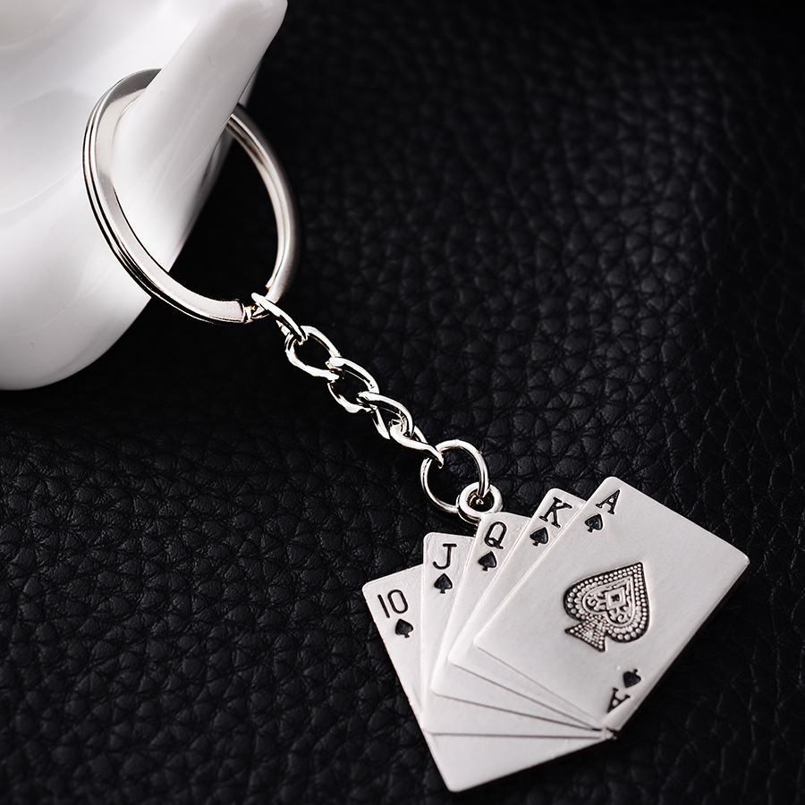 10PCS High Quality Metal Poker Styling Key chains Rings Holder Personality Keyring Key finder Creative Jewelry wholesale J017