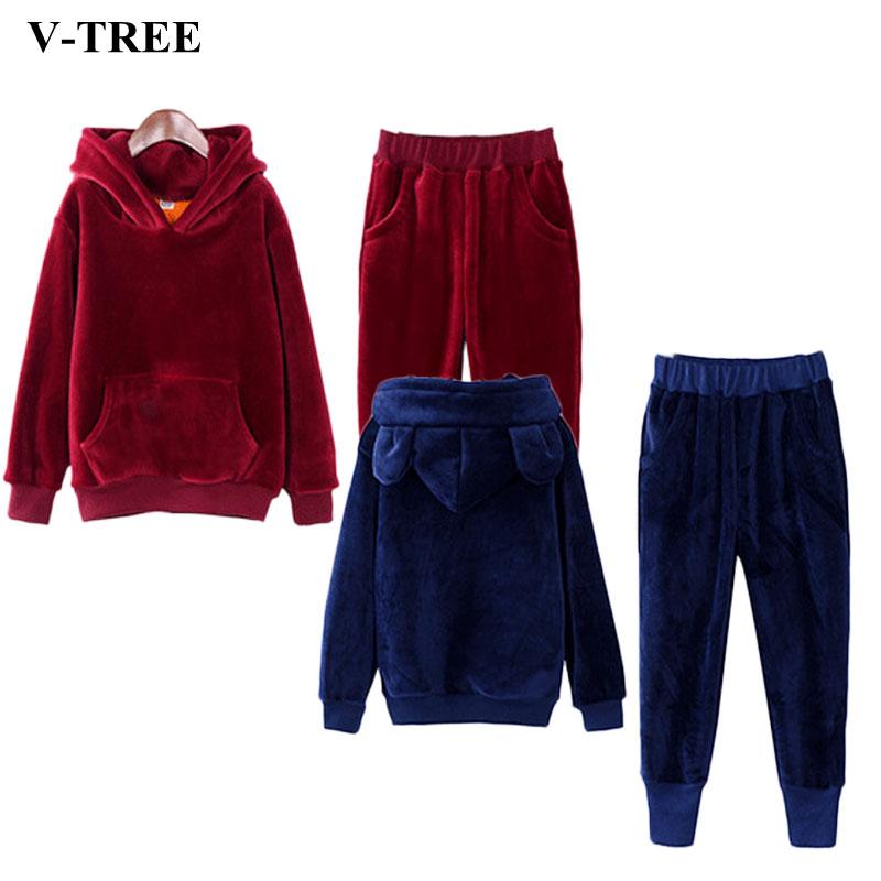 V TREE Gold Velvet Boys Clothing Set Thicken Sport Suit For Children Teenage Girls Clothes Sets Boy School Uniform Tracksuit