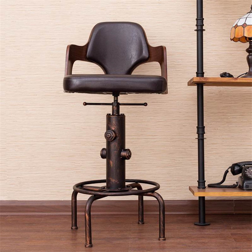 Europe Retro Style Height Adjustable Bar Chair With Footrest Wood Backrest Swivel Bar Stool Counter Coffee Pub Chair Barstool high back bar stool vintage pub cafe chair rotating round stool universal metal chair adjustable height swivel barstool