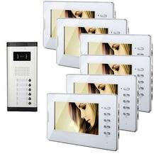 Xinsulu – One to Six Video Doorphone Kit Configuration Professional 7 inch Display 1V6 Video Intercom Phone
