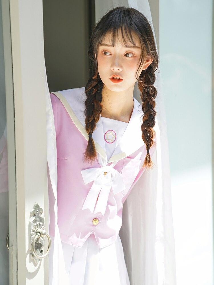 Sakura rose clair japonais uniforme scolaire jupe JK uniforme classe uniformes marin costume collège vent costume femmes étudiants uniformes