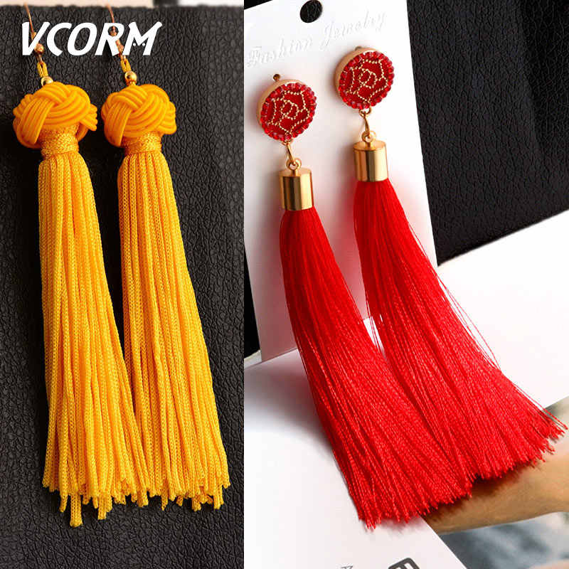 VCORM bohème gland cristal longues boucles d'oreilles pour femmes rouge coton soie tissu frange boucles d'oreilles 2019 mode femme bijoux