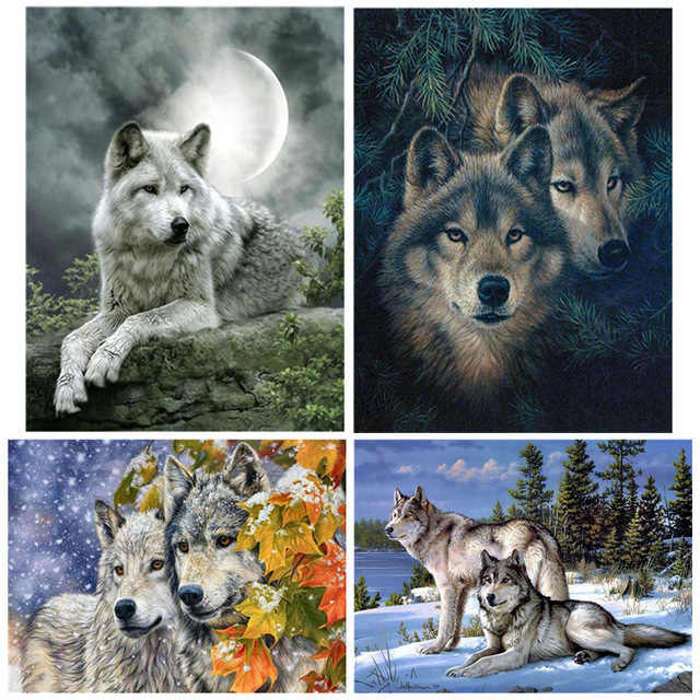 Diamond Painting  embroidery 5d diy full square animals wolf - diamond mosaic daimond painting drill