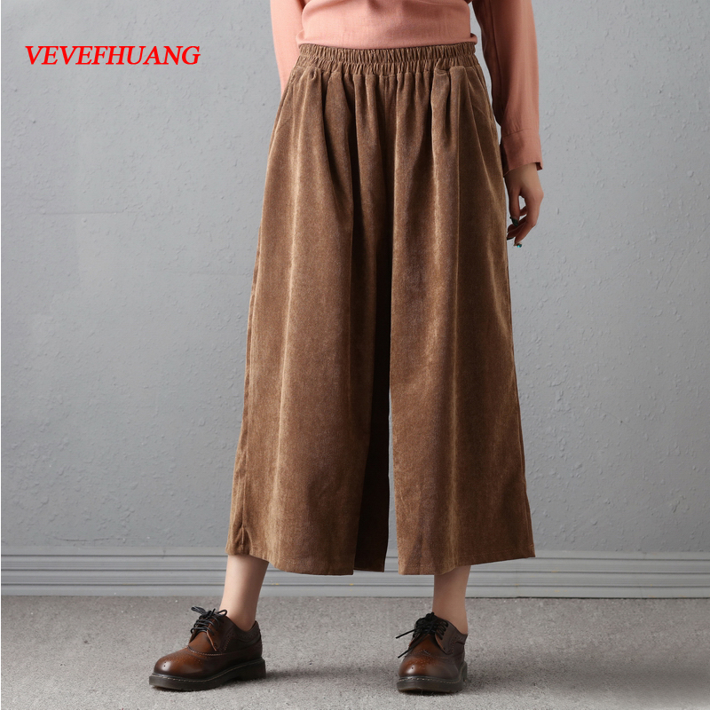 Original Design Female Loose Trousers Women High Waist Retro Loose Cotton Corduroy Pants Female Wide Leg Pants