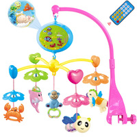 Newborn Infant Toy 0 12 Months Crib Bed Bell Mobile Musical With Animal Rattles Projection Cartoon Early Learning Kids Toy CB60