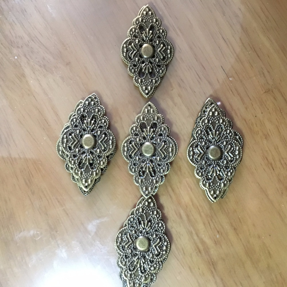 Ancient Bronze Metal Cabochon Filigree Hollow Heart Rhombus Leaf Butterfly Wraps Cabochon Embellishments DIY Crafts,5.2x3,50pcs