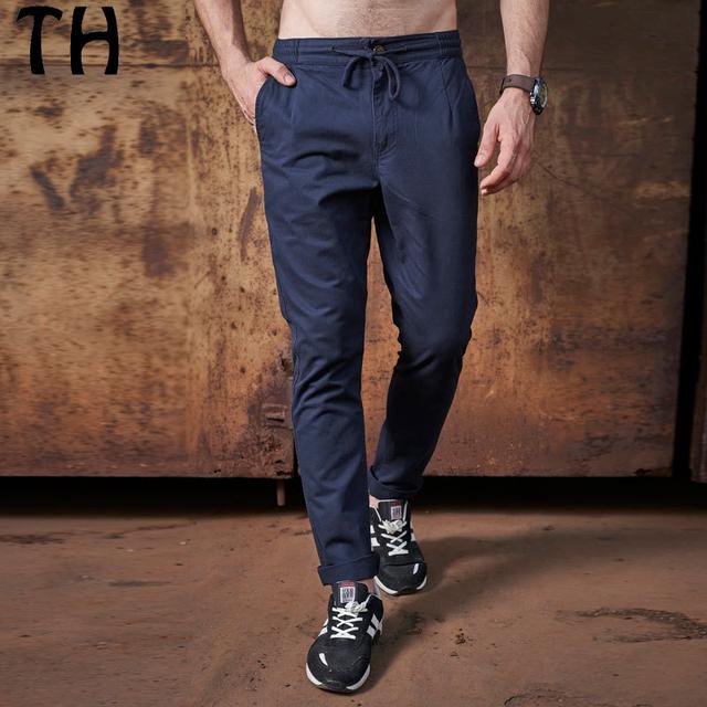 2017 Primavera Outono Cordão Calça Casual Homens Bolso Sólida Reta Calças Pantalon Homme #162022