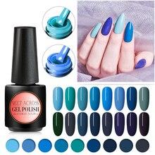MEET ACROSS Blue Colors Gel Nail Polish 7ml Soak Off Manicure UV Varnish DIY Art Lacquer Decoration for Nails