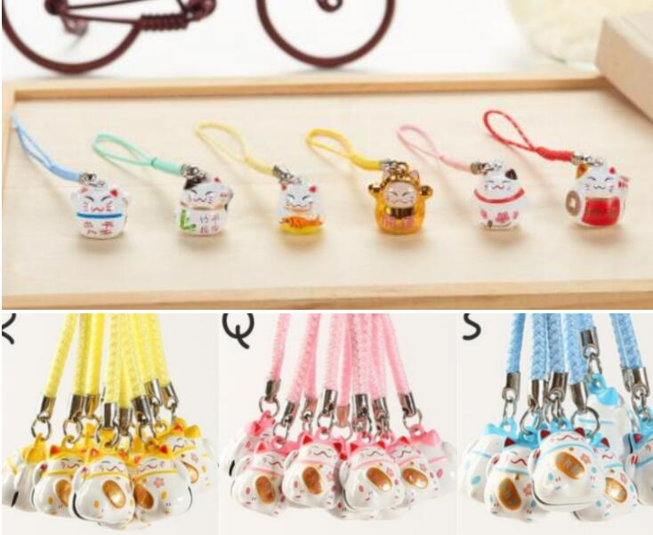 New 100 Pcs cute lucky cat bell Cell Phone Strap Charms Keychains Key Ring DIY Jewelry