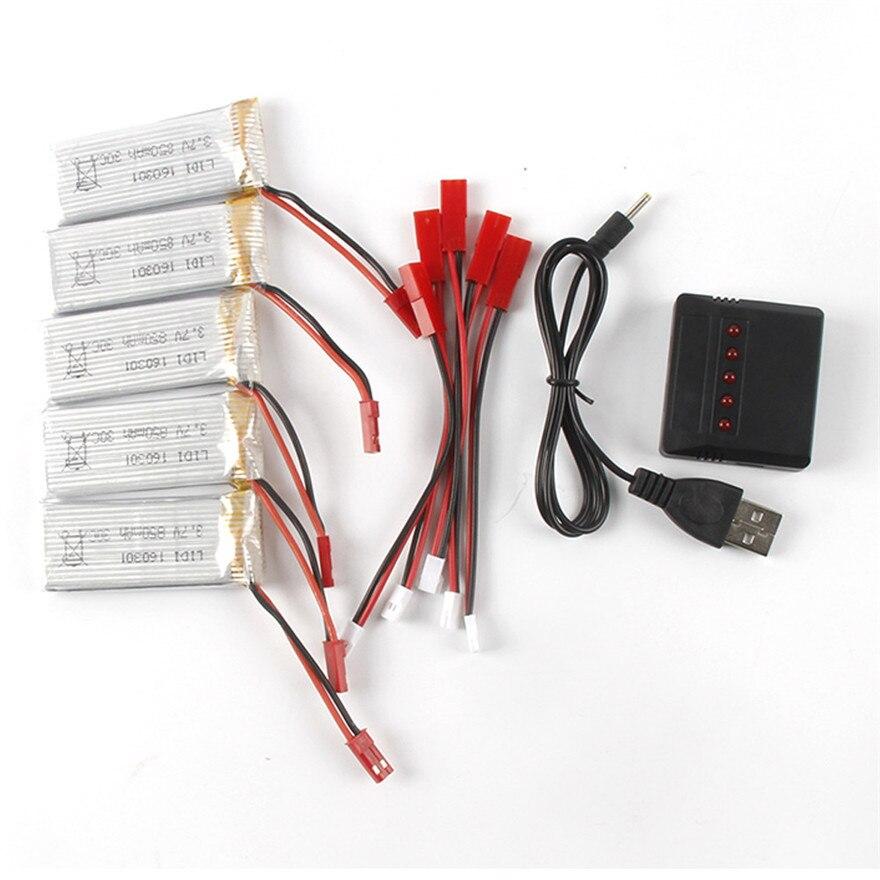Высокое Качество 5 ШТ. 3.7 В 850 мАч Батарея + 5 в 1 Зарядное Устройство Для <font><b>JXD</b></font> 509 Г/509 Вт/510 Вт/510 Г/JJRC H12C Игрушки Оптом
