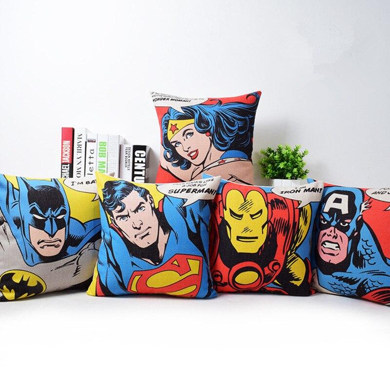 Американский фильм Стиль Супер Герои Чехлы для подушек Капитан Америка Супермен железный человек Бэтмен украшения Пледы Наволочки almofadas