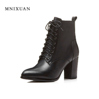 Elegant Martin Boots Thick Heel Round Toe Boots Women Shoes 2017 New Winter Black Lady Genuine