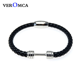 VEROMCA Punk Men Jewelry Black Genuine Braided Leather Bracelet Stainless Steel Magnetic Clasp Fashion Bangles 18.5 22.5 20.5cm (9)