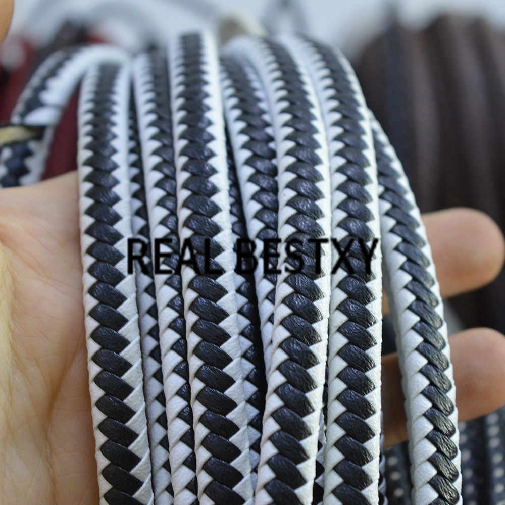 จริง BESTXY 5 เมตร/ล็อต 8*5 มม./สีดำและสีขาวแบน Braided หนังสายหนังสายเชือกสร้อยข้อมือเชือกถักหนัง