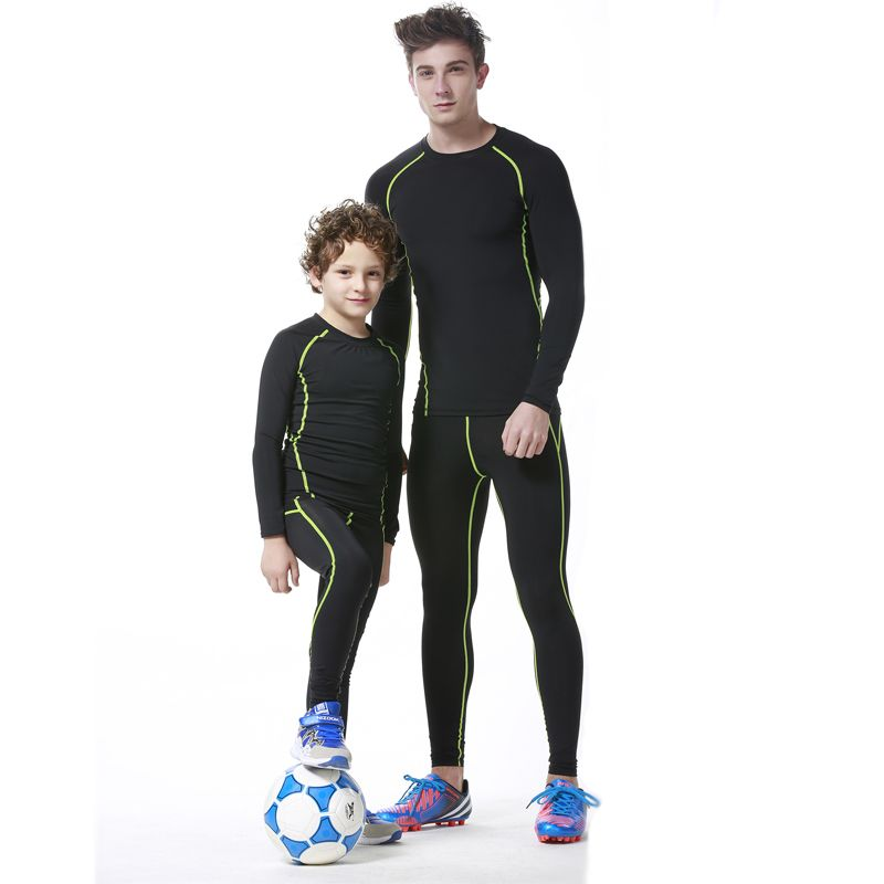 2f25b8c38e3c4 2017 New Kids Boys compression runing pants shirts set jerseys survetement  football youth soccer training skinny tights leggings-in Running Sets from  Sports ...