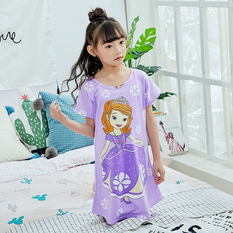 Children Short Sleeved Nightgown Suit Children's Summer Nightdress  Girls Lovely Home Furnishing Clothes Children's Day Gifts