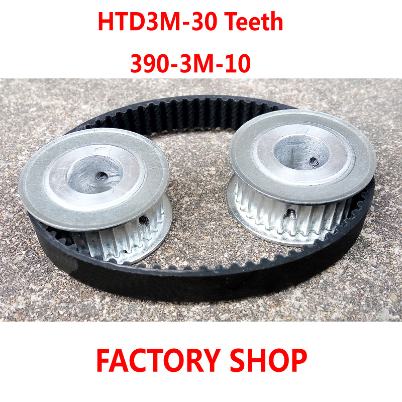 High quality 2pcs 30 teeth HTD3M Timing Pulley bore 8mm + 1pc HTD 3M timing belt length 390mm width 10mm S3M Free shipping