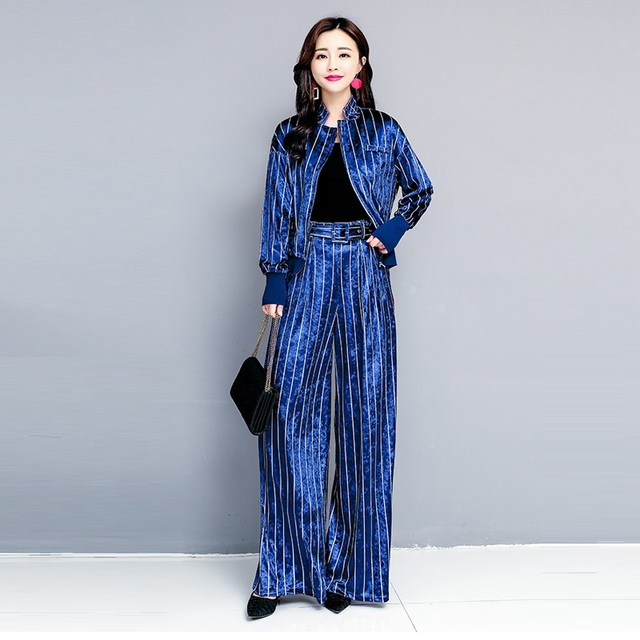 8d7acaffdba Striped Blazer Wide Leg Pants Suits 2018 New European Style Autumn Casual  Tracksuit Velvet Two Piece Set Women Pant Suit 2PCS