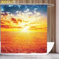 Polyester Shower Curtain Apartment Decor Collection Sunset over Sea Vibrant Colors Golden Horizon Honeymoon Travel Destination