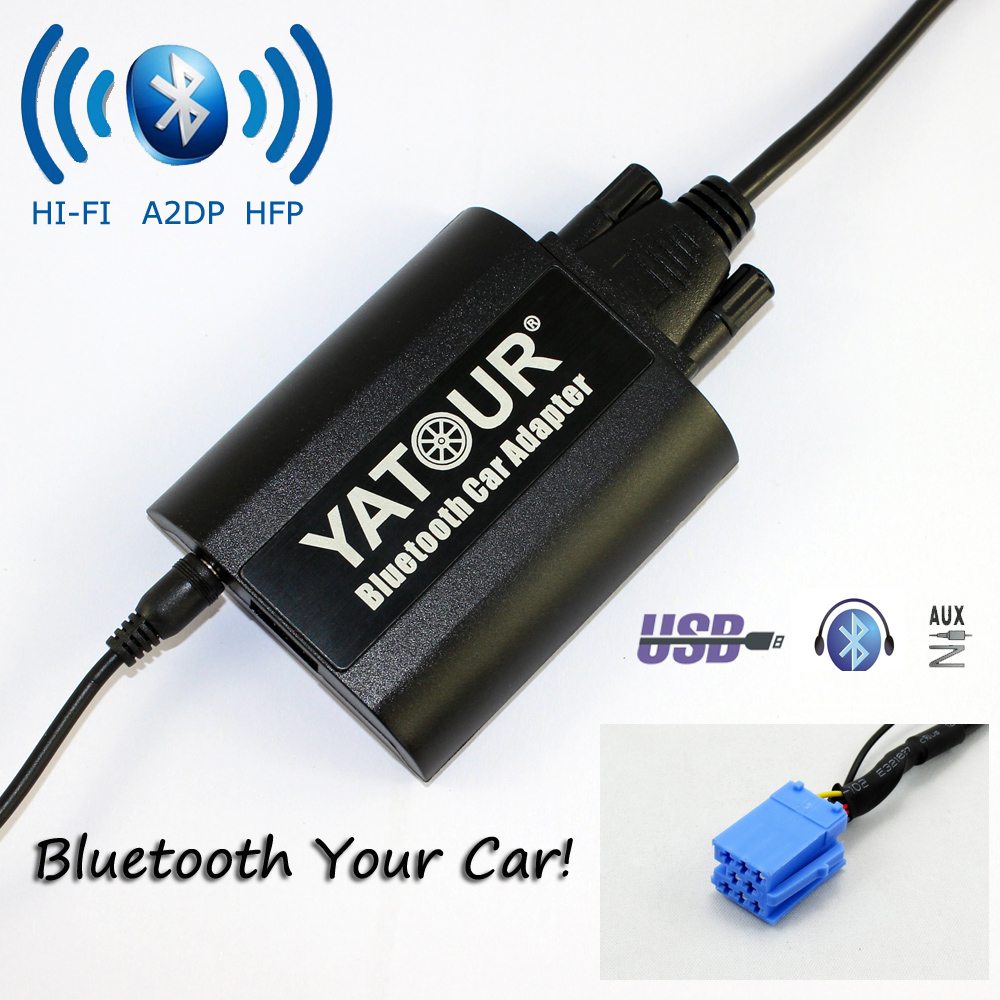 Yatour Bluetooth Car Adapter For 8-Pin Fiat Bravo New Bravo Panda Idea Punto YT-BTA  Hand free AUX IN HI-FI A2DP USB Charger car usb sd aux adapter digital music changer mp3 converter for skoda octavia 2007 2011 fits select oem radios