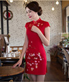 Chinese Clothing Store Promotion Chinese Wedding Dress 2016 Short Summer Cotton Improved High Tribute Cheongsam Slit Sexy Dress