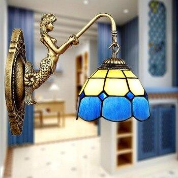 Asli kesederhanaan gaya Mediterania Tiffany biru dan hijau Mermaid tidur cermin kamar mandi lampu lorong lampu dinding