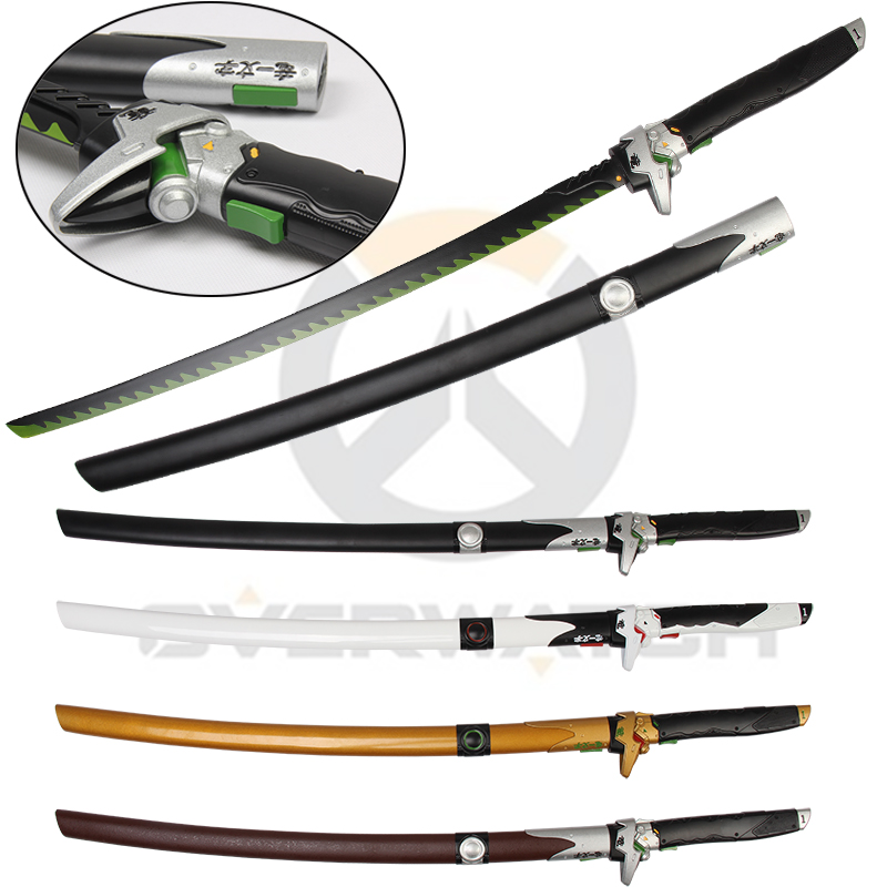 41Inch Dragon Blade Replica Genji Sword Steel Wooden Scabbard Black One Decorative For Over Watch Game Weapon Cosplay