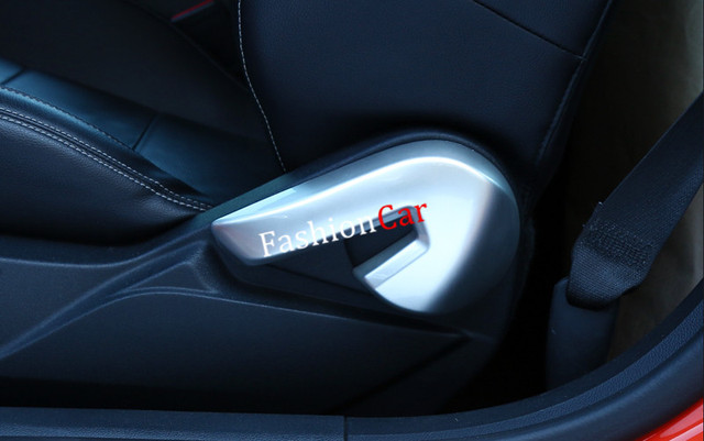 2pcs Set Blue Red Silver Matte Interior Seat Button Cover Trim For