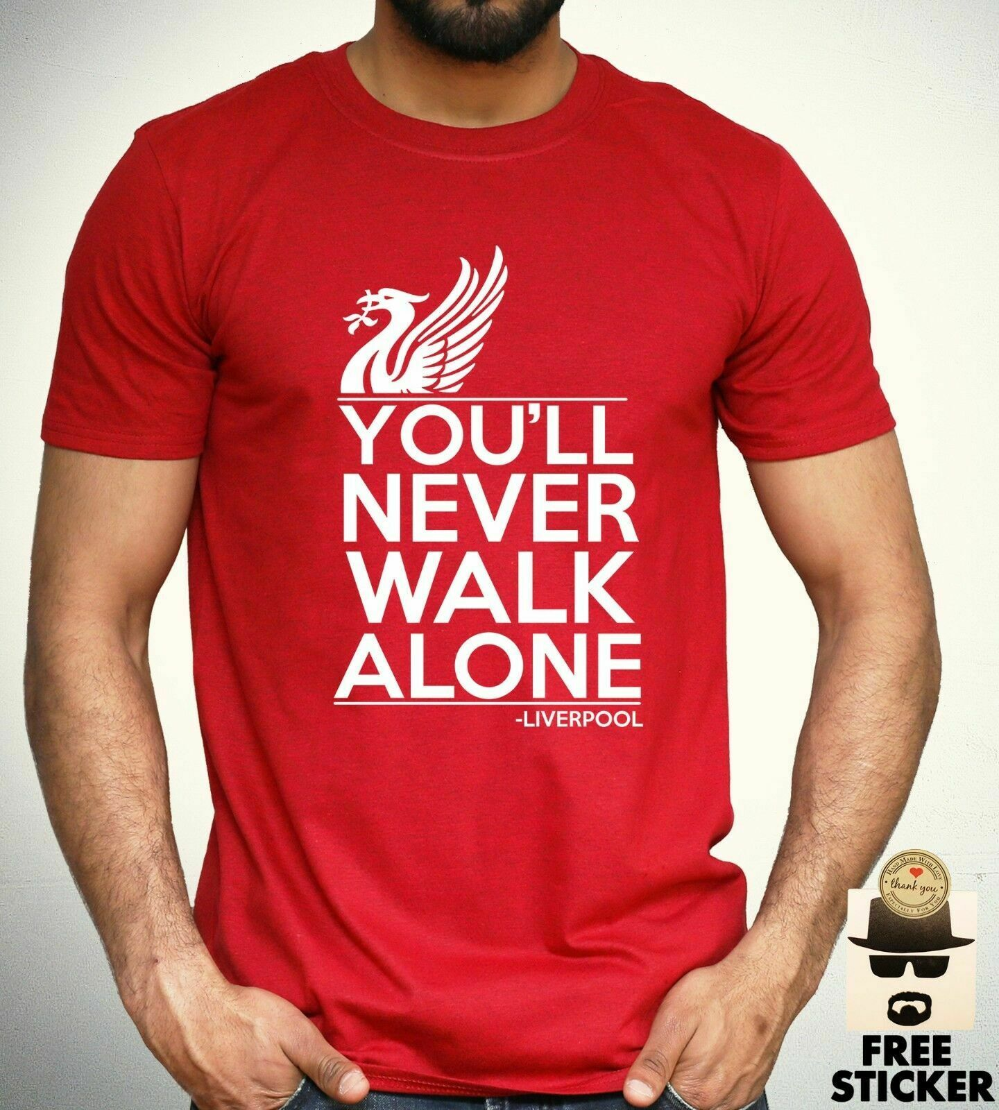 Liverpool   T     Shirt   you'll never walk alone Football Fan Club YNWA Mens Gift Tee Comfortable   t     shirt  ,Casual Short Sleeve TEE