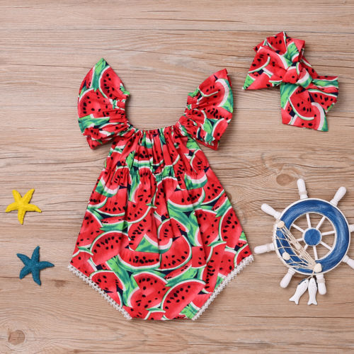 Kids Baby Girl Romper Outfit Watermelon Romper Bodysuit Headband Clothes Set
