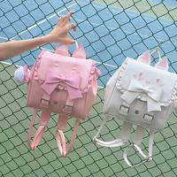 Japanese Cute Cat Bow Backpack School Women Lovely Embroidered Cat Backpack for Teenage Girls Funny Cats Ears Shoulder Bags