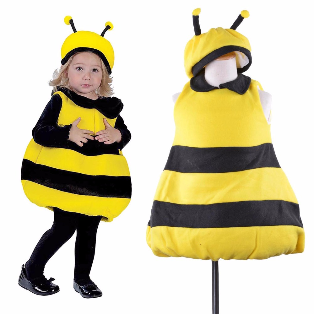 kids bee costumes little bumble bee fancy dress black and yellow stripes one piece with hat - Bee Halloween