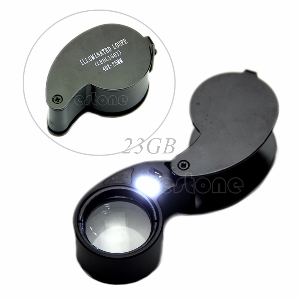 2017 New 40x 25mm Glass Magnifying Magnifier Jeweler Eye Jewelry Loupe Loop Led Light MAR16_15 20x mini jeweler eye loupe magnifier magnifying glass for jewelry diamond 20 x 21mm
