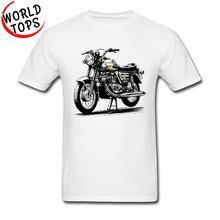 T-Shirts col ras du cou pour hommes, Style rétro, Design de moto, tout en coton, à manches courtes, à prix réduit